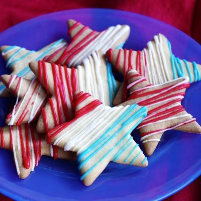 Stars and Stripes Cookies - could do any shape then stripe in school or holiday colors - should really sell!