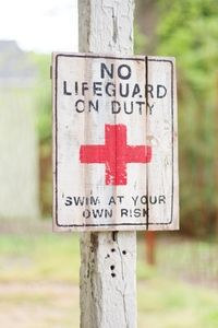 Painted Wooden Sign-No Lifeguard On Duty