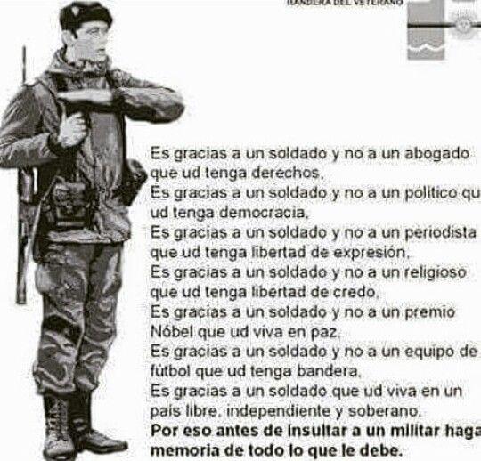 Gracias Soldado,  gracias, gracias,  gracias
