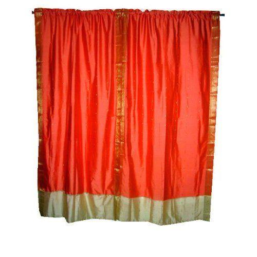 Red Curtains amazon red curtains : Amazon.com: 2 India Curtains Peach Ivory Art Silk Sari Drapes ...