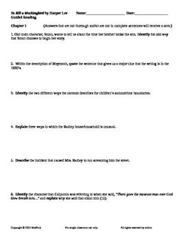 To Kill A Mockingbird Worksheets: To Kill a Mockingbird by Harper Lee Guided Reading Worksheets   To    ,