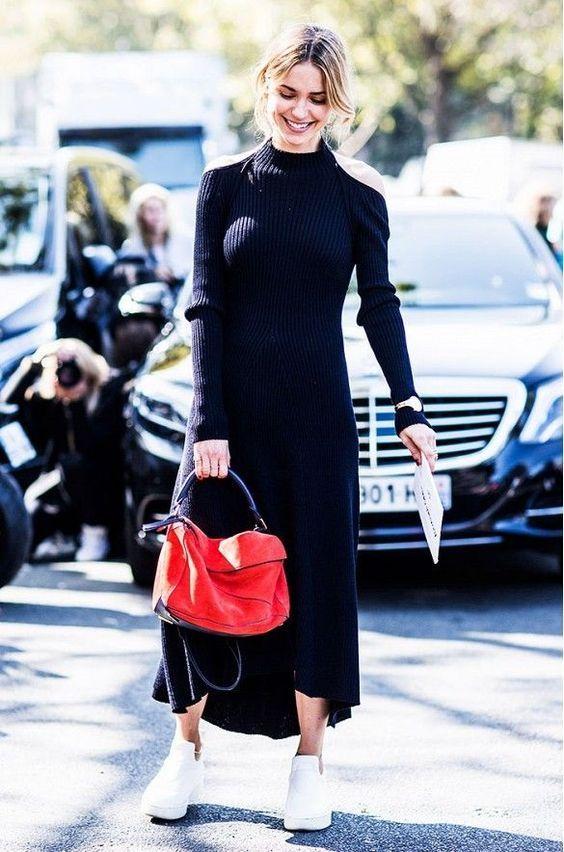 2021 Uzun Triko Kazak Elbise Kombinleri Siyah Uzun Yarim Balikci Yaka Elbise Beyaz Spor Ayakkabi Triko Elbise Stil