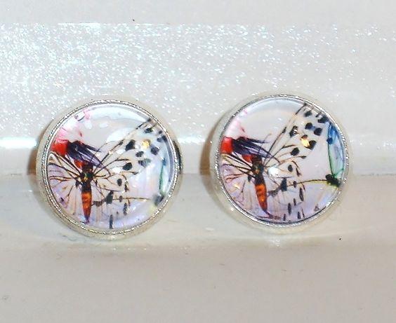 Ohrstecker - Ohrstecker Schmetterling Glas Ohrschmuck Schmuck - ein Designerstück von ausgefallene-Ohrringe bei DaWanda