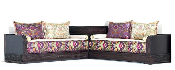Salon Marocain Mamounia avec tissu Dalal Violet Beige - Salons marocains Richbond, le créateur de votre intérieur au Maroc.