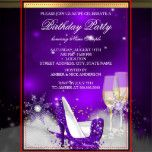 Purple High Heel Shoes, Silver Gold Champagne Birthday Party Invitation. Elegant Purple Silver, gold. Customize with your own details and age. Template for Sweet 16, 16th, Quinceanera 15th, 18th, 20th, 21st, 30th, 40th, 50th, 60th, 70th, 80th, 90, 100th, <b>Fabulous product for Adult Women, teen Girls,  Zizzago created this design PLEASE NOTE all flat images! They Do NOT have real Glitter, Diamonds Jewels or real Bows!!</b>