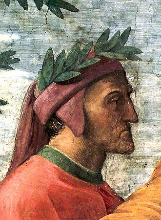 "Dante Alighieri Portraits; Dante, as frescoed very posthumously by Raphael (1483 - 1520) as a background participant in ""The Parnassus"" in the Stanza della Segnatura of the Vatican:"