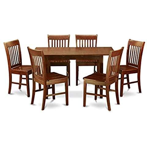 Beuniquetoday Mission Style 7 Piece Dining Set In Mahogany Wood