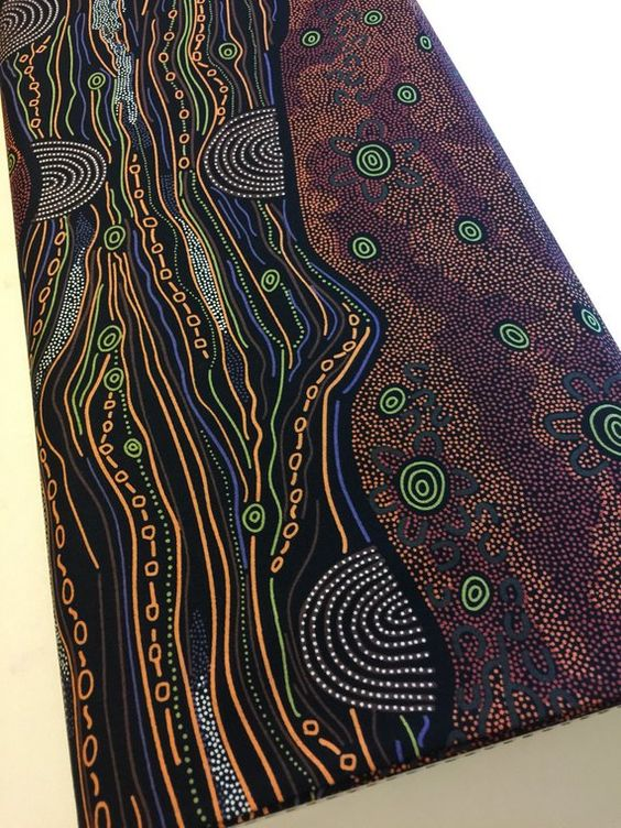 Bush Onions /& Wild Flowers in Black BOWFB Abstract Aboriginal R410 100/% Quality Cotton by MS Textiles by Yard Australian Fabric