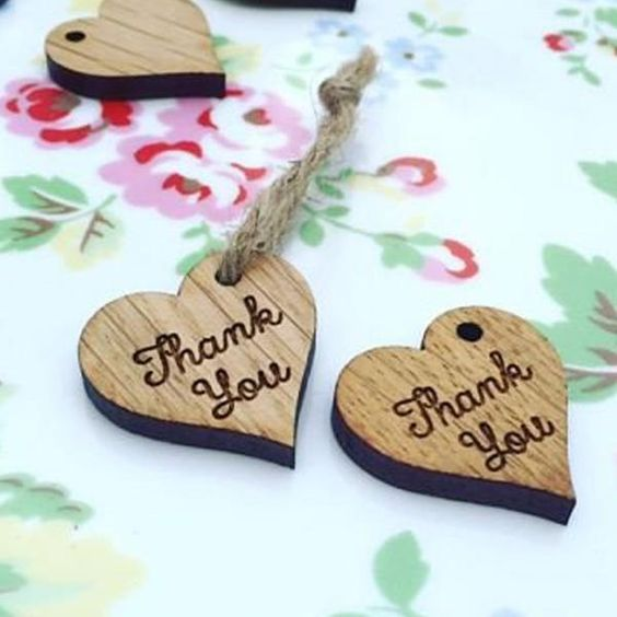 Thank you wedding favour gift tags (Wooden)
