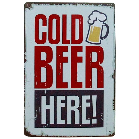 "Placa decorativa metal ""Cold Beer Here"". http://lobotomyshop.es/decoracion/151-placa-decorativa-metal-cold-beer-here.html"