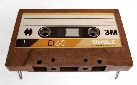 Customized cassette tape coffee tables! OMG.