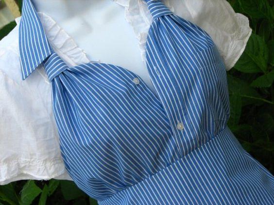 Upcycled men's shirt apron: