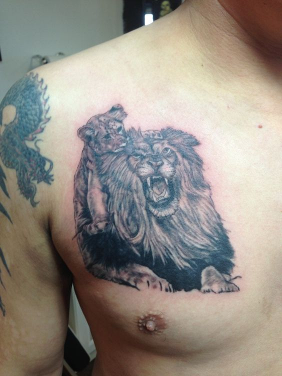 Lion and cub original by justin martin psychward tattoos for Lion and cub tattoo