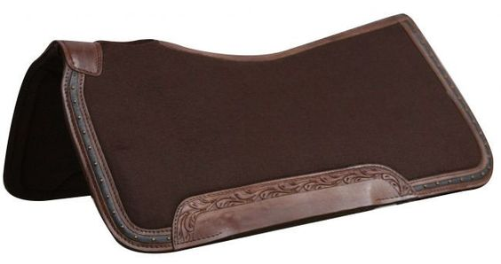 """x 32"""" 100% Wool top, memory felt bottom saddle pad with leather trim"""