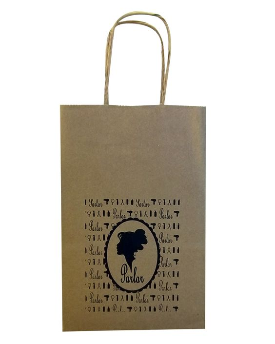Parlor Salon - Kraft Twisted Paper Handle Bag hot stamped http://actionbag.com/kraft-paper-shopping-bags---brown/p/BB535BK/