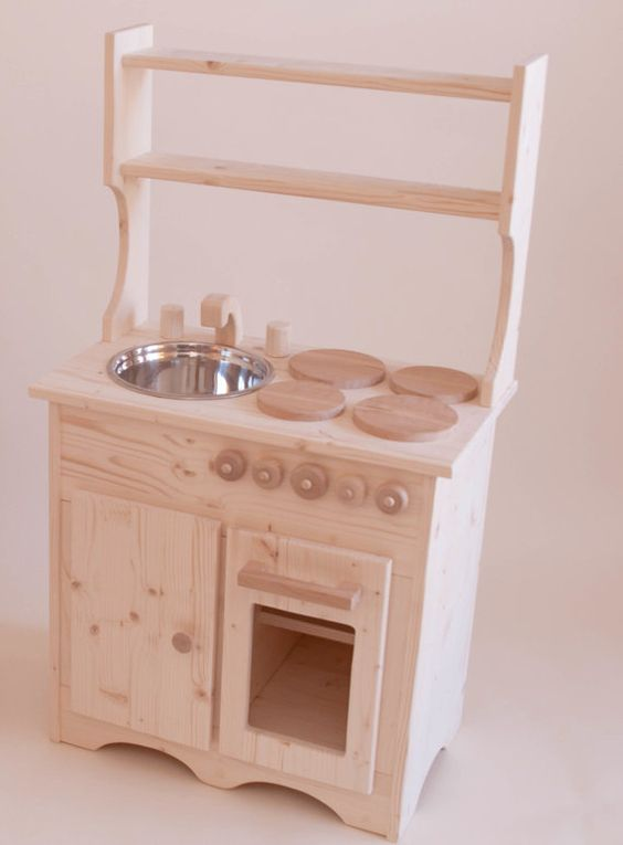 Wooden Play Kitchen Childrens Toy Play Set by Rewoodtoys on Etsy, $250.00