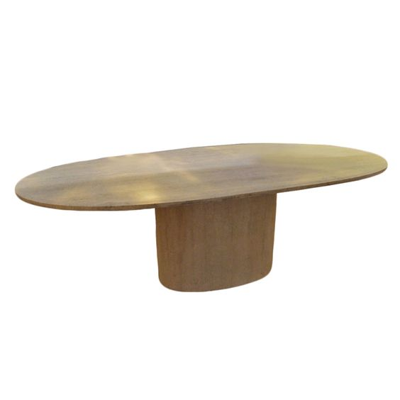 Rare Oval Table In Travertine Marble, Design Willy Rizzo | From a unique collection of antique and modern dining room tables at http://www.1stdibs.com/furniture/tables/dining-room-tables/