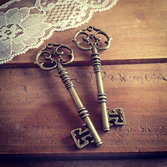 2 pcs Large Skeleton Key Charms in Antique Bronze vintage style Pendant Ornate Fancy Victorian on Etsy, $2.99