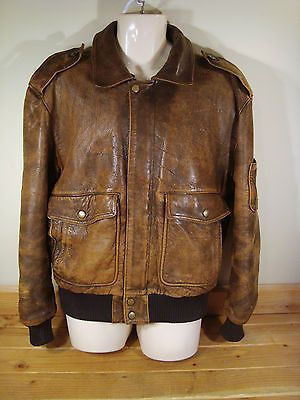 Vintage Kenneth Gordon Distressed Brown Leather Bomber Jacket 42