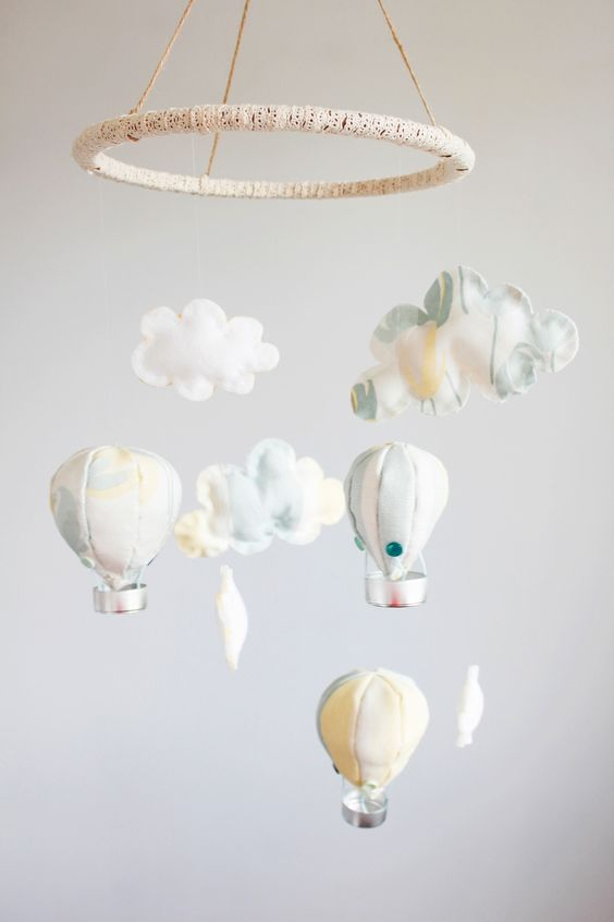 Hot-air-balloons-and-clouds-baby-mobile-DIY-You could even make these into bunting for your own room! --Beak-Up-Crafts copy