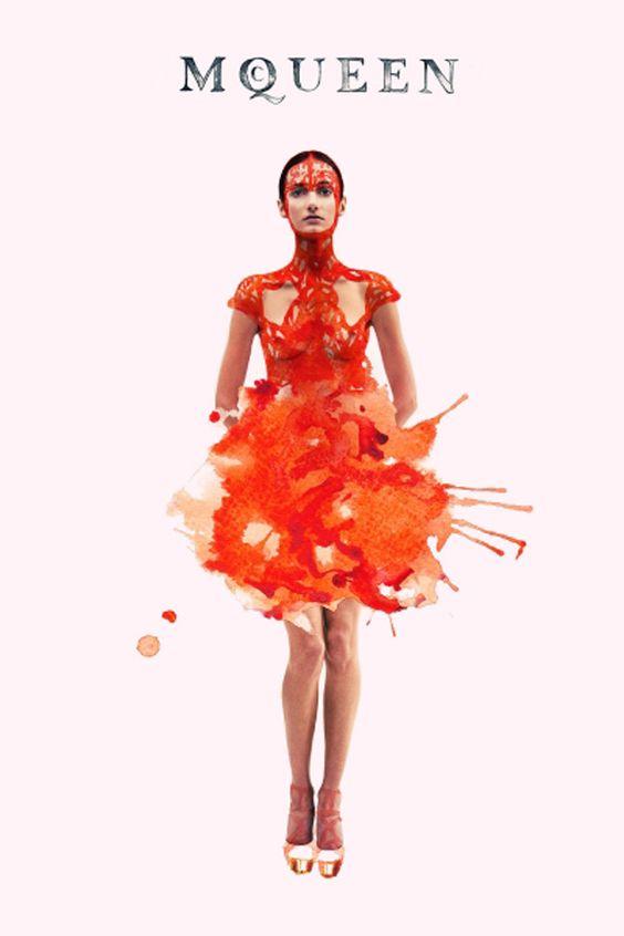alexander mcqueen - Ink Fabric Editorial Illustrated by Julia Slavinska | Trendland: Fashion Blog & Trend Magazine