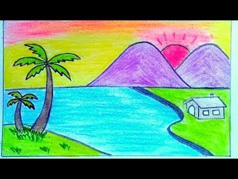 رسم منظر طبيعي سهل جدا رسم سهل جدا How To Draw A Landscape Youtube Drawings Art