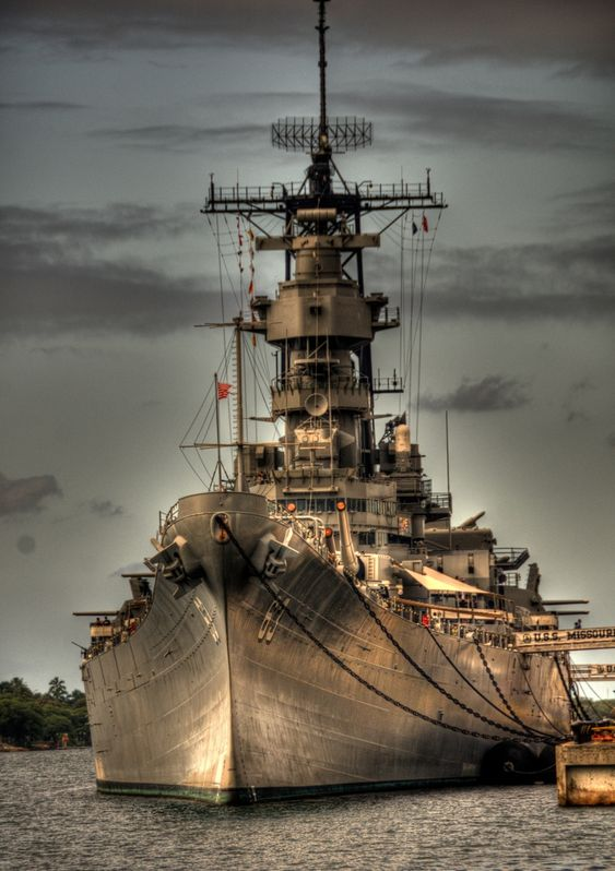 USS Missouri (BB-63) Battleship now docked permanently as a museum at Pearl Harbor, Hawaii