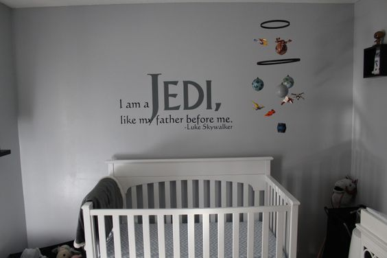 """Haha! Now, that's how you decorate a kid's bedroom! """"I am a Jedi, like my father before me."""""""