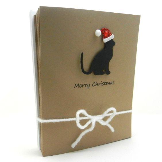 Handmade Christmas Cards - Black Cat Silhouette with Santa Hat - 10 pack. via Etsy.