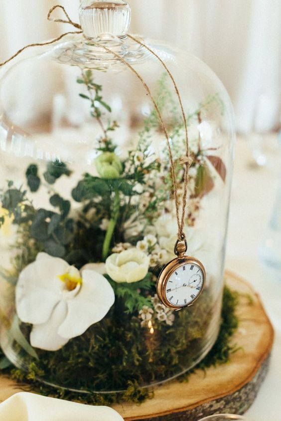 Botanical Bell Jar Centrepieces on Wooden Slab | Elegant Scottish Wedding At Logie Country House | Bride in Lace Suzanne Neville Forsythia Gown | Bridesmaids In Mint Green Ted Baker Dresses | Images From Donna Murray | www.rockmywedding...