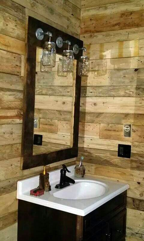 Rustic barnwood mirror light mason jar vanity farmhouse Rustic country style bathrooms