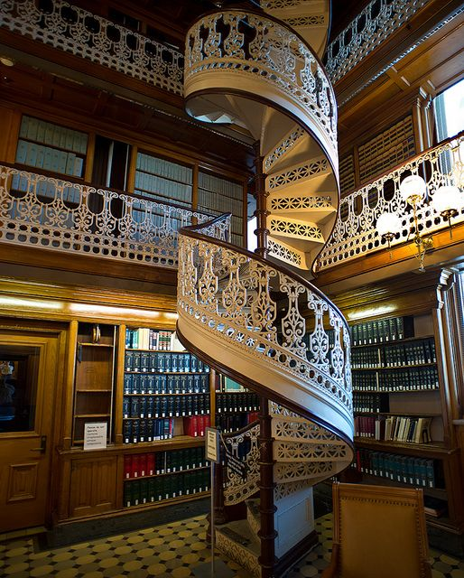 Detail of spiral stairs iowa state law library by rskent for Two story spiral staircase