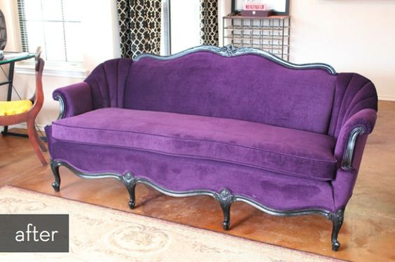 Purple velvet sofa makeover!