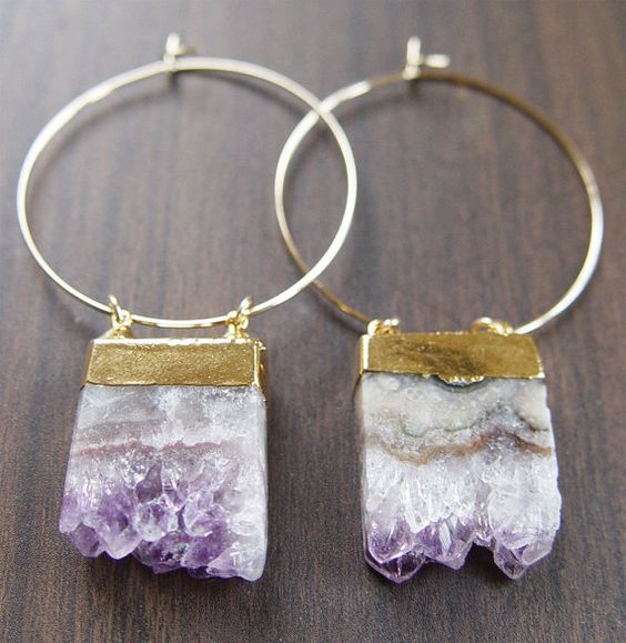 Lilac Amethyst Stalactite Druzy Earrings Gold OOAK. $79.00, via Etsy.