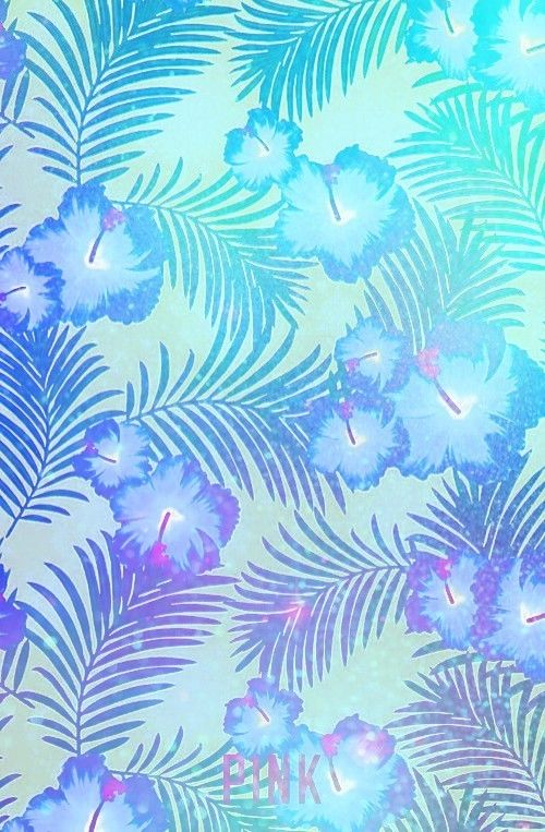 Hawaiian Hibiscus Designed By Me Pink Blue And Palms Vs Pink Wallpaper Pink Nation Wallpaper Flower Phone Wallpaper