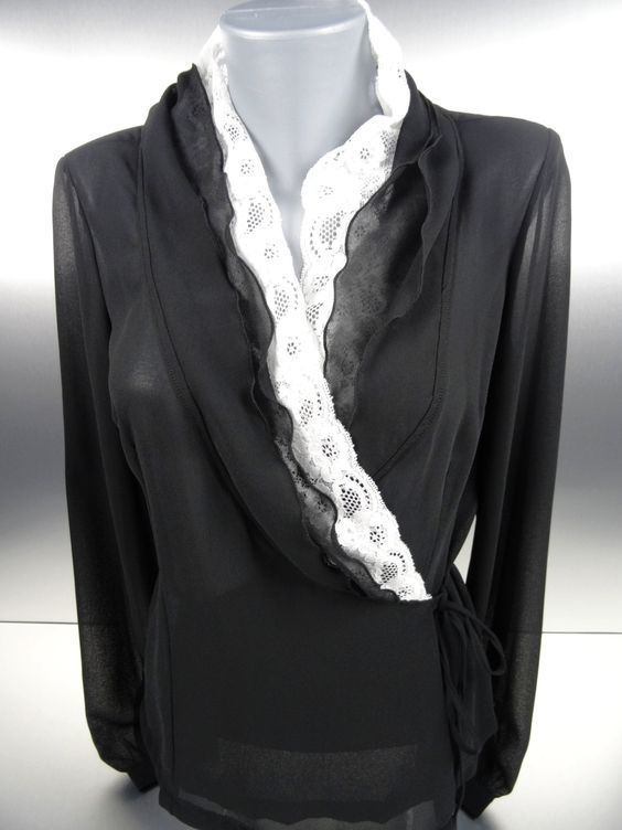 Black Surplice Blouse with White Lace Trim
