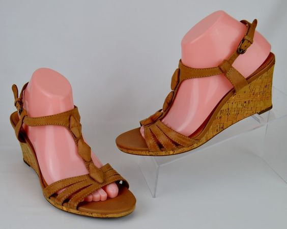 Clarks Women's Size 9 M Tan Leather Cork Wedge Heels #Clarks #PlatformsWedges #Casual