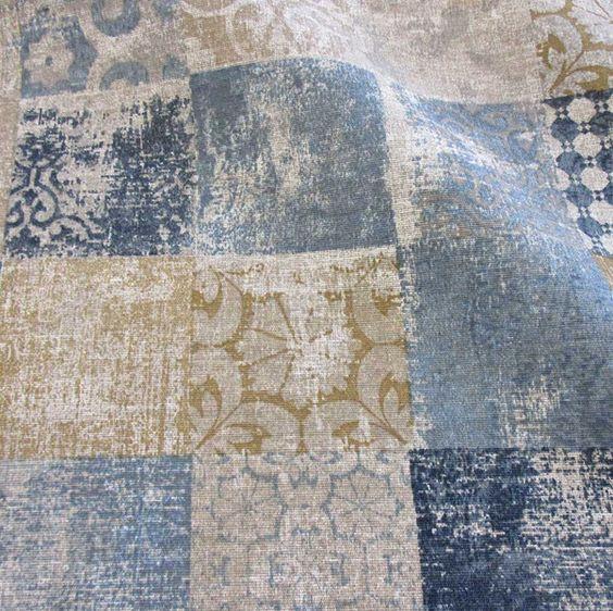 Weiteres - Stoff pflegeleicht marokkanische Fliesen blau grau - ein Designerstück von werthers-stoffe bei DaWanda