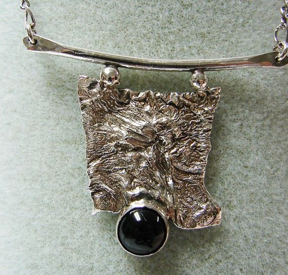 Handmade Reticulated Silver Pendant with Black Onyx and 18 Inch Chain