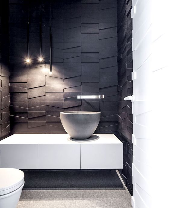 revestimentos com textura pretos para banheiro