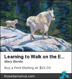 Learning to Walk on the Edge. By Mary Benke, Pastel. A young mountain goat follows its mom along a rocky trail. The abstract darks in the background contrast with the lights in the animals' fur for a textured effect. #pastelpainting #fineart #mountaingoat