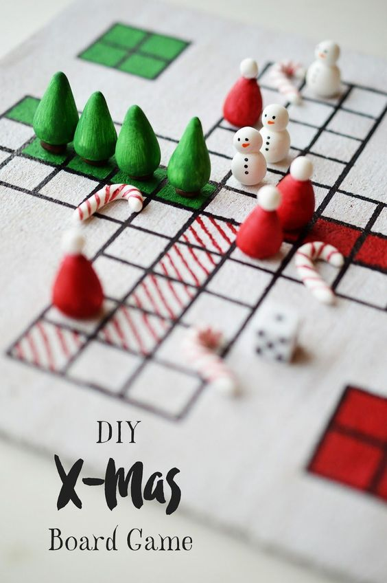 "Instructions on how to make a festive version of the classic German board game ""Mensch ärgere dich nicht"" for Christmas, including a free template and instructions to play."