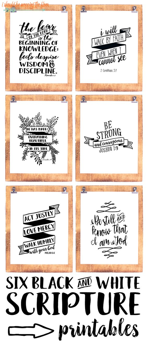 Six Black And White Scripture Printables Happy Graphics