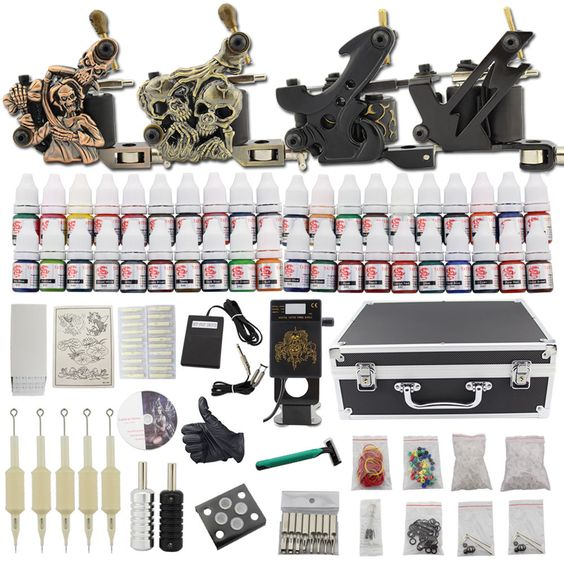 Complete Starter Tattoo Machine Kit 4 Gun 40 Ink Power Supply Set Needle Grip C6