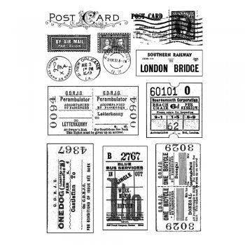 Crafty Individuals CI-239 - 'Vintage Tickets and Postmarks' Art Rubber Stamps, 90mm x 128mm - Crafty Individuals from Crafty Individuals UK