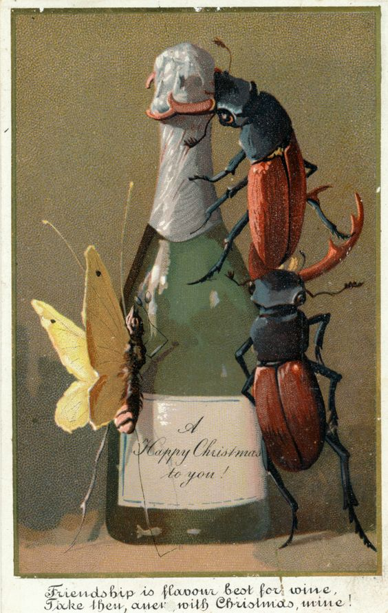 Insects celebrating with Champagne: