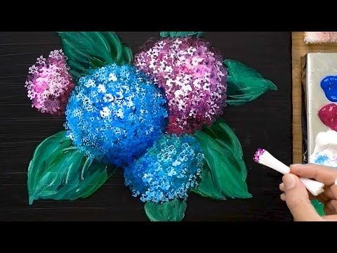 Tehnika Risovaniya Akrilovymi Kraskami Gortenzii Kotoruyu Vy Dolzhny Poprobovat Youtube Acrylic Painting Techniques Easy Hydrangea Acrylic Painting Tutorials