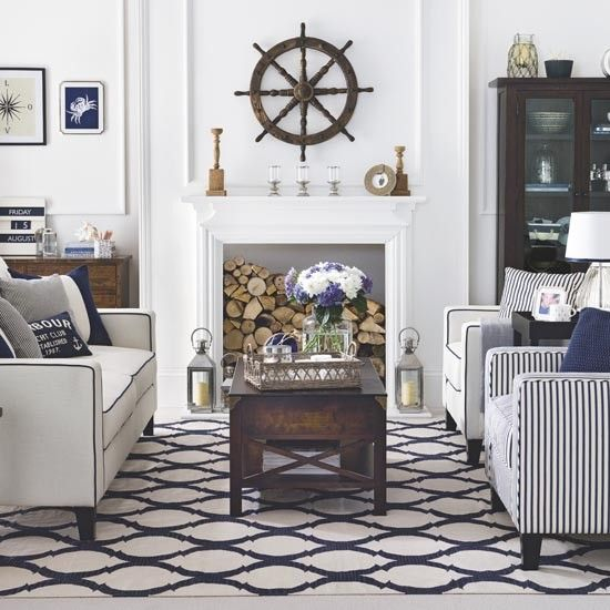 Start with a traditional dark wood and cream palette and add accents of smart navy on tailored upholstery, soft furnishings and geometric-weave flooring. Finish with nautical themed accessories — chrome lanterns, decorative glass pieces, ropework and polished wood