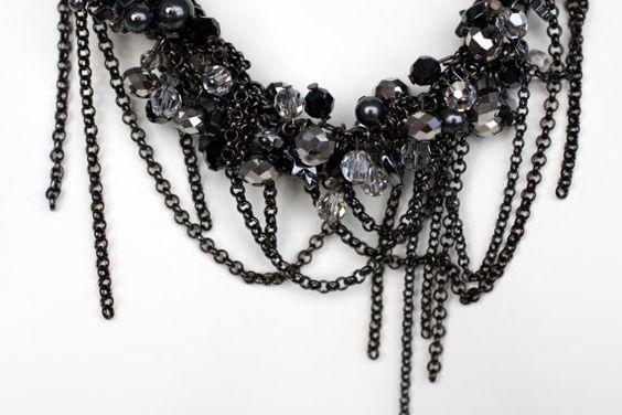 Black Chain and Swarovski Crystal Necklace