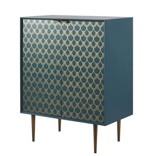 Buffet 2 Portes Bleu Turquoise Motifs Graphiques Dores Barracuda Maisons Du Monde Portes Bleues Mobilier De Salon Meuble Rangement